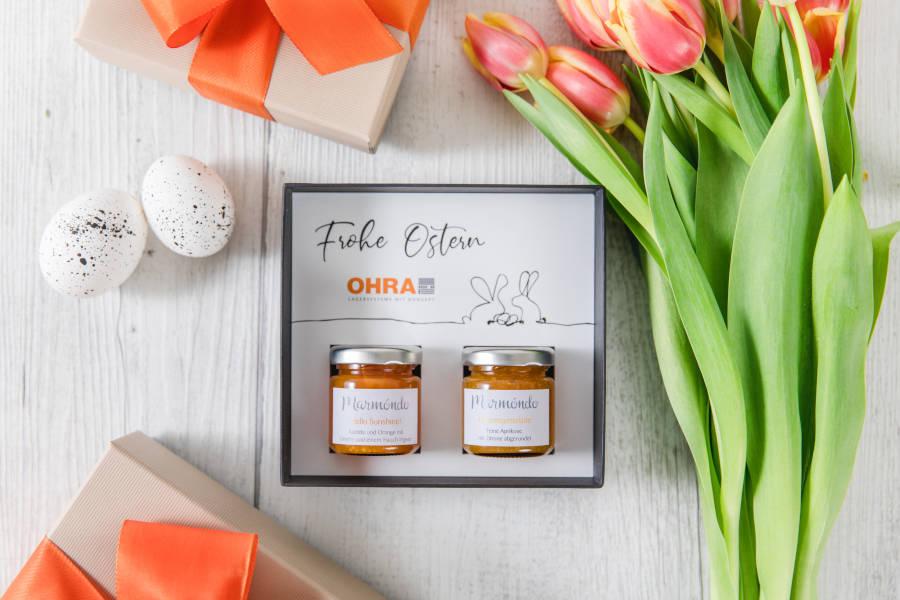 Schöne Geschenkbox zu Ostern mit Kundenlogo