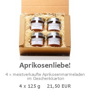 Aprikosenliebe 4x125g im Geschenkkarton
