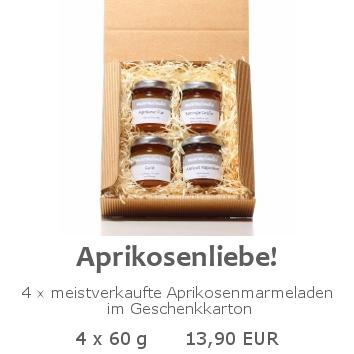 Aprikosenliebe 4x60g im Geschenkkarton