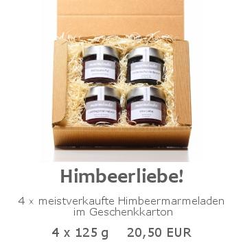 Himbeerliebe 4x125g im Geschenkkarton