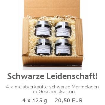 Schwarze Leidenschaft 4x125g im Geschenkkarton