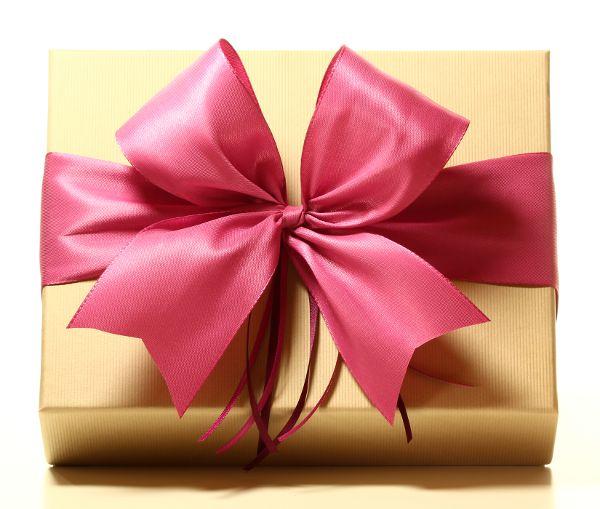 Geschenk mit Schleife Fuchsia