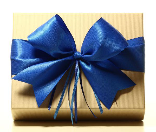 Geschenk mit Schleife Königsblau