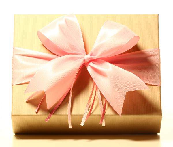 Geschenk mit Schleife Rosé
