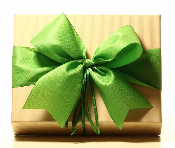 Geschenk mit Schleife Wiesengrün