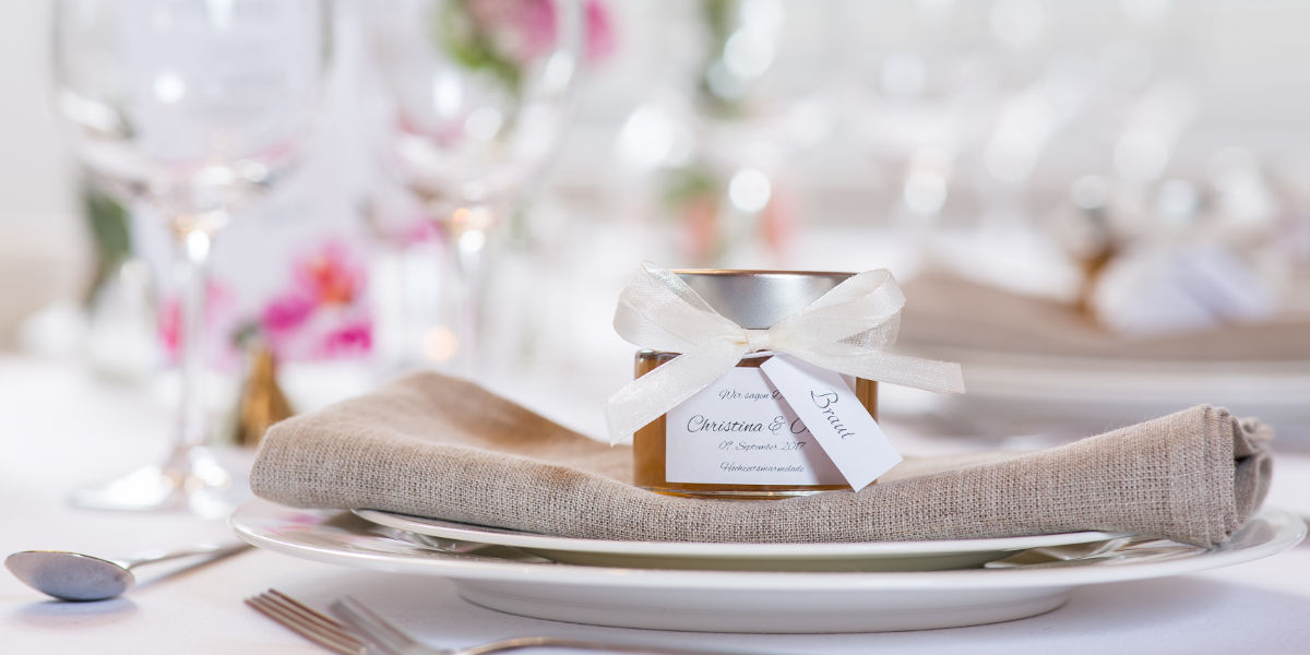 Hochzeitsmarmelade Anhänger mit Gästename