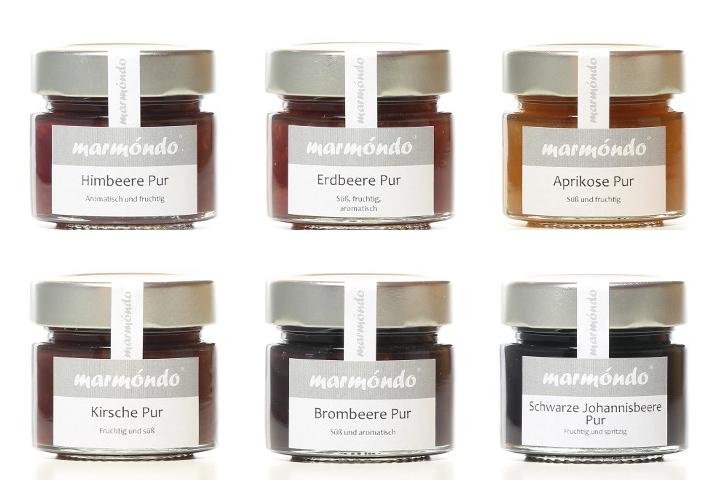 marm ndo marmeladen manufaktur fr chte pur 6 x 125 g probiersets marmeladen. Black Bedroom Furniture Sets. Home Design Ideas