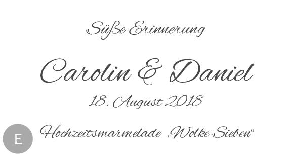 Hochzeitsmarmelade Etiketten Motiv E
