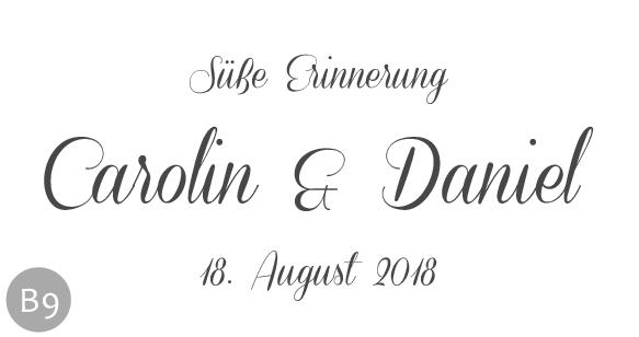 Hochzeitsmarmelade Etiketten Motiv B und Schriftart 9