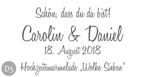 Hochzeitsmarmelade Etiketten Motiv D und Schriftart 5